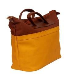 Craftstages ocher yellow and brown handbag