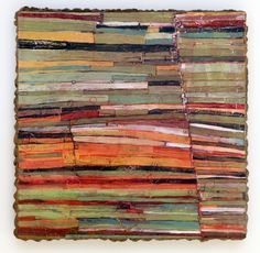 """Layered Edge Barbara Gilhooly copyright 2006 Acrylic, enamel, ink, carving on wood 24"""" x 24"""" (color inspiration) great lines, would love to see texture in person"""