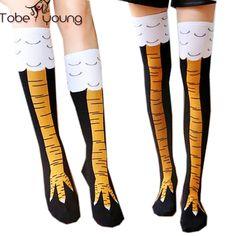 2016 New Women Chicken Thigh Over Knee High Stockings 3D Cartoon Ainimals Trendy Sexy Men Thin Toe Feet Ladies Creative