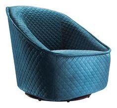 Zuo Modern Pug Swivel Chair Aquamarine