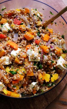 Farro and butternut squash salad