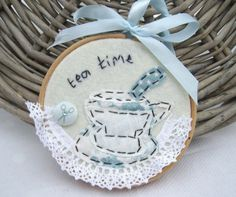 "Handmade 4"" Teatime Embroidery Artwork made by me for I Love Pretty Things made using Tilda Fabrics"
