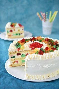 Tort jogurtowo- śmietankowy z galaretkami Jello Recipes, Dessert Cake Recipes, Sweets Cake, Cupcake Cakes, Raspberry Torte, Chocolate Torte, Snacks Saludables, Unique Desserts, Colorful Cakes