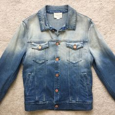 Band Of Outsiders * LAST DROP * Dipped Dyed Fitted Ombre Denim Jacket Size US M / EU 48-50 / 2 - 7