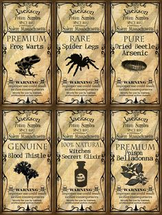 Creepy Halloween Labels Digital Collage Sheet Altered Art Domino Potion
