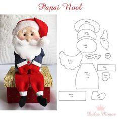 Papai noel em feltro sentado; Santa Claus fieltro navidad; Christmas felt santa claus
