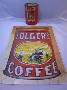 1960s Promo Folgers Coffee 56 Piece Puzzle In Metal Top Mini Coffee Can Premium #Folgers