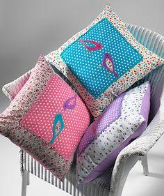 Printed cotton cushion cover, applique birds 45 x 45cm