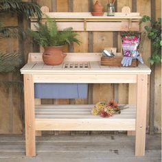Features:  -Spacious wood surface.  -14 Gallon heavy duty tub.  -Can be easily painted or stained.  -Stainless steel fasteners for rust free products.  -Made in the USA.  -Cypress wood construction.