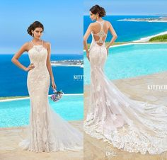 2016 Kitty Chen Plus Size Wedding Dresses Spaghetti Applique Backless Bridal Wedding Gowns Beach Vestidos De Novia Custom Made Beach Wedding Gowns Crystal Weeding Dress Berta 2015 Bridal Gowns Online with $159.0/Piece on Magicdress2011's Store | DHgate.com