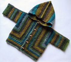 Going to knit one out of Tofutsies with a hood! EZ's Baby Surprise Jacket Going to knit one out of Tofutsies with a hood! Baby Sweater Knitting Pattern, Crochet Jumper, Knit Baby Sweaters, Knitted Baby Clothes, Baby Knitting Patterns, Knitting Tutorials, Stitch Patterns, Crochet For Boys, Knitting For Kids