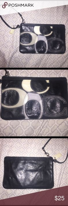 "Black Coach Wristlet Cute black coach wristlet with four large ""C's"" on the front. Used only a couple of times. Great condition! Coach Bags Clutches & Wristlets"