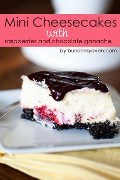 Mini Cheesecakes with Raspberries and Chocolate Ganache #recipe by bunsinmyoven.com