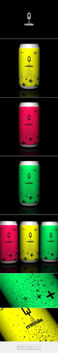 Missile - Energy Drink Identity on Behance by Robinsson Cravents curated by Packaging Diva PD. Lets go to the moon : ) Branding, Art Direction, Packaging