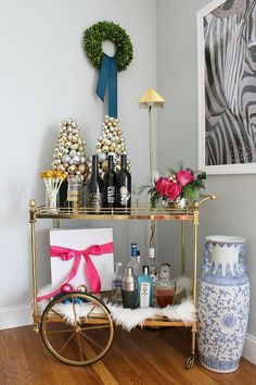 Holiday bar cart styling | Kristin Cadwallader Bliss at Home