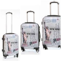 Liberty asi se llama tu mejor conjunto de 3 Maletas de viaje, son unas maletas duras de 4 ruedas de goma silenciosa, con diseño muy moderno