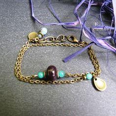 Bracelet tania - verre de bohême (perles tchèques) prune et agate vert turquoise  En vente à 11.90 € sur A little market