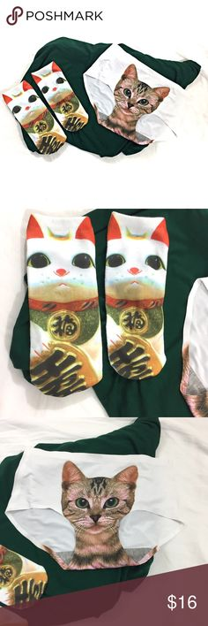 Kitty Lovers Panties and Socks! One Size Fits All Super fun white panties with an adorable kitty cat photo and a pair of white anklets with Maneki Neko Japanese lucky charm print.  Both items are new without tags, one size fits all. City to Seaside Accessories Hosiery & Socks