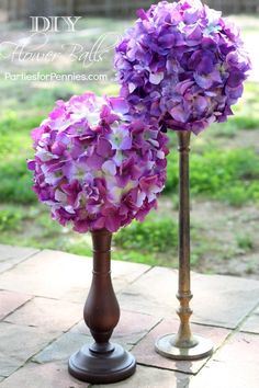 DIY Flower Balls by PartiesforPennies.com #weddings #weddingcenterpieces #purpleflowers #diycenterpieces
