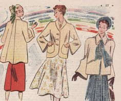 1940's Sewing Pattern  French Ladies Jacket by Mrsdepew, $4.00  View 2. Chic!