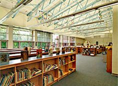 Library-media room at elementary school with high ceilings featuring skylights providing ample daylight
