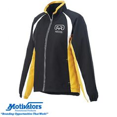 This women's track jacket is the perfect #spring giveaway! It's light, water-repellent & available in four color choices. Act now & get free 1-day rush production plus #freeshipping! #promotionalproducts #apparel