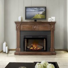 Offering a distinct mantel option, the Braxton has a modest footprint while housing the largest electric firebox in the Cinema™ family. The Braxton electric fireplace mantel package by Napoleon has solid hardwood decorative side columns that hold a black granite styled surround around the impressive wide Cinema™ fireplace. A hidden compartment allows you to hide any possessions within or use it to hold electronic media components with the wire management system found inside.