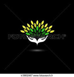 eco, amical, icône, à, filles, mains, et, feuilles vertes, -, concept, vector…