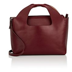 The Row Women's Two For One 12 Shoulder Bag & Pouch featuring polyvore, women's fashion, bags, handbags, shoulder bags, dark brown, red shoulder bag, red pouch, handbags totes, zip top tote bags and shoulder bag tote