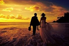 Trash the dress with a gorgeous sunset!