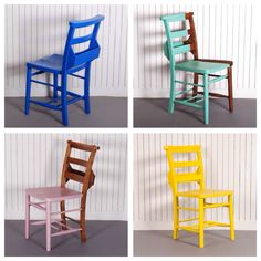 Great paintwork and colour selection to show off the natural wood on these beautiful church chairs.