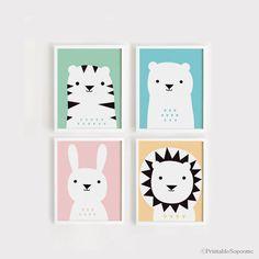 Imprimibles infantiles arte Set de 4 cartel oso conejo León