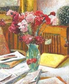 Cuno Amiet ~ Still Life with Carnations in a Glass Vase ~ (Swiss: 1868-1961)
