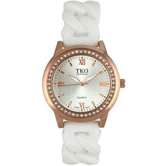 TKO Orlogi Women's Crystal Stretch Watch ($48) ❤ liked on Polyvore featuring jewelry, watches, white, artificial jewellery, roman numeral jewelry, white jewelry, faux watches and fake watches