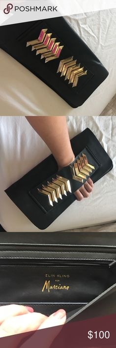 Clutch This is real calf  leather Elin Kling for Marciano clutch. Comes with optional shoulder chain strap. Minor scratches... if u would like more pics please ask... open to reasonable offers only! Guess by Marciano Bags Clutches & Wristlets