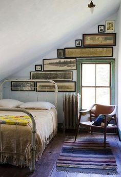Add some local touch to a cottage or kids room with old school pictures found at local garage sales or schools. Start at the top of the ceiling and work your way down. As you can see, horizontal picture worked best in this space and add to the uniqueness.