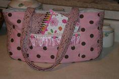 pink and brown polka dot handbag