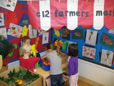 The classrooms created a Farmer's Market in the Dramatic Play center. I wonder what they are growing and selling!