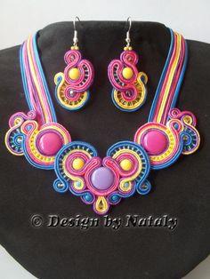 OOAK Soutache Jewelry Set Of Earrings  Necklace Blue Yellow Pink Purple