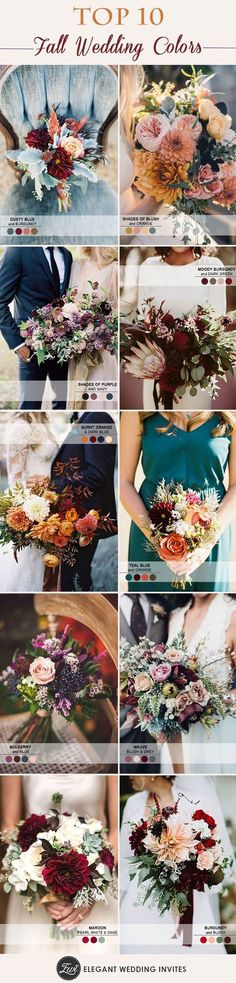 top 10 wedding color palettes inspired by bridal bouquets for fall brides