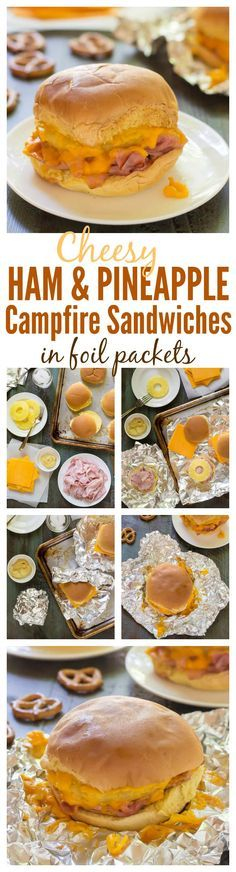 Cheesy Ham and Pineapple Campfire Sandwiches. An easy foil recipe that is our family& favorite campfire food! Cheesy Ham and Pineapple Campfire Sandwiches. An easy foil recipe that is our familys favorite campfire food! Easy Campfire Meals, Campfire Food, Camping Meals, Camping Food Recipes, Camping Dishes, Camping Cooking, Family Camping, Camping Hacks, Camping Food Healthy