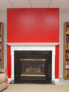 red fireplace white walls - Google Search