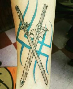 Perfect tattoo i love these swords sword art online tattoo - Art - Tattoo Badass Tattoos, Body Art Tattoos, Tattoo Drawings, Tattoos For Guys, Cool Tattoos, Tatoos, Future Tattoos, Mystical Tattoos, Fantasy Tattoos