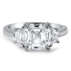 Asscher cut, flanked by trapezoid