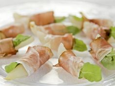 Get Grappa-Poached Pears with Speck Recipe from Food Network