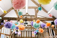 Emily and Stephen's Pretty Pastel Summer Wedding in Oxfordshire by Hannah K Photography with a BHLDN dress and the New York Brass band. Boho Wedding, Summer Wedding, Wedding Blog, Paper Pom Poms, Pretty Pastel, Modern Decor, Beautiful Homes, Pastels, Photography