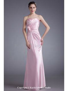 Silk Sweetheart Floor Length Sheath Hand-made Flower Prom Dress
