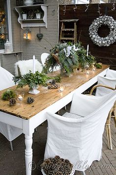 christmas outdoor decor, outdoor living, seasonal holiday decor, Our refectory table is long and skinny but dresses up beautifully