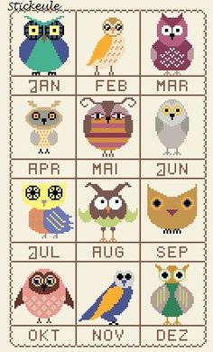 Owl Cross Stitch Patterns for each month of the year!
