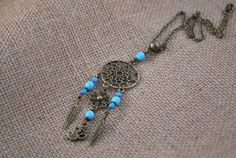 SALE Blue Dream Catcher necklace. Hippie festival by Estibela